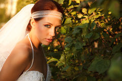Bride in leafs Royalty Free Stock Image