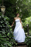 Bride Leaves. A bride standing in her white wedding dress Royalty Free Stock Photography