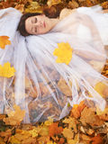 Bride on leaves Royalty Free Stock Image
