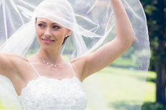 Bride lifting her veil in garden Stock Photography