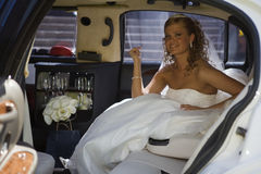 Bride in a limo Royalty Free Stock Photo