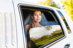 Bride in limousine Royalty Free Stock Image