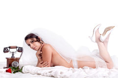 Bride in lingerie Stock Photography