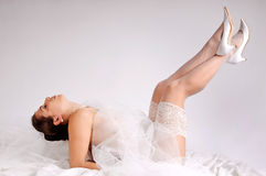 Bride in lingerie Stock Images