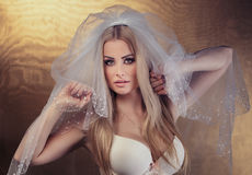 Bride in lingerie Royalty Free Stock Photos