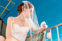 Bride in lingerie for wedding dreaming Stock Images