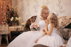 Bride with  little girl Royalty Free Stock Photo