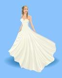 Bride. Bride in long chic dress. Wedding fashion. Invintation design.Vector illustration Royalty Free Stock Image