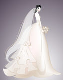 Bride in long chic dress. Wedding fashion. Invintation design. Woman silhouette Stock Photography