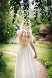 Bride with long fair hair from back Stock Photos