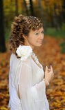 Bride with long hair braided in plaits Stock Photo