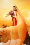 Bride with long veil Royalty Free Stock Photo