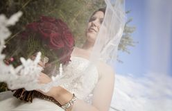 Bride with long veil blowing in wind. A low profile of a bride with long veil blowing in the wind holding a bouquet of red roses Stock Photos