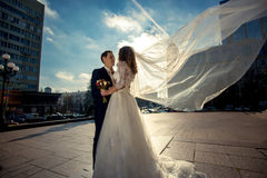 Bride with long veil hugging with groom on street at windy day Royalty Free Stock Photo