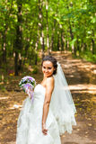 Bride with long veil. Bride posing in park Stock Photography