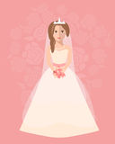 The bride in a long wedding dress with a bouquet of flowers. Vector illustration in a flat style. Wedding poster, invitation, decoration. Wedding fashion, A Royalty Free Stock Photo