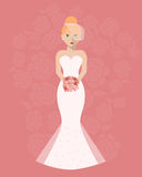 The bride in a long wedding dress with a bouquet of flowers Royalty Free Stock Images