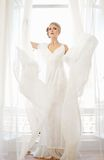 Bride in Long White Wedding Dress Royalty Free Stock Photo
