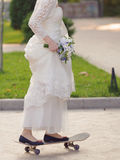 Bride on Longboard Stock Photography