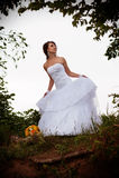 Bride looking away, outdoors Stock Photos