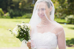 Bride looking away through veil in garden Royalty Free Stock Photos