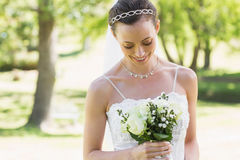 Bride looking at bouquet in garden Stock Images