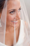 Bride looking through her veil and smiling Stock Photo