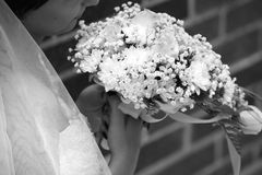 Bride looks at a bouquet Stock Photo