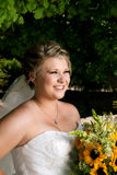 Bride Looks Into Distance Stock Photo