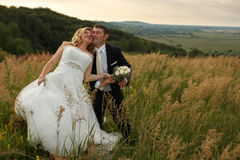 Bride looks happy leaning to a groom on the field.  royalty free stock photo