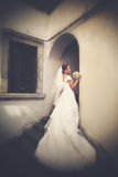 Bride looks shy posing on the stone stairs royalty free stock photography
