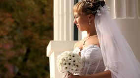 Bride Looks At The Sun stock video footage