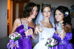 Bride looks thoughtful while standing with bridesmaids Royalty Free Stock Photo