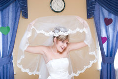 Bride looks from the veil royalty free stock photography