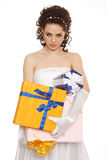 Bride with a lot of presents Royalty Free Stock Images