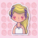 Bride lover with gown and hairstyle design. Vector illustration Royalty Free Stock Photography