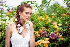 The bride in a lush garden surrounded by flowers Royalty Free Stock Photo