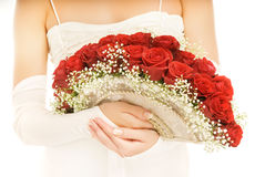 Bride with a luxury boquet stock image