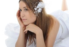 Bride lying on the floor. Royalty Free Stock Photography