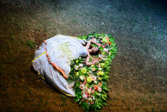 Bride lying on the flowers in a wedding dress Royalty Free Stock Images