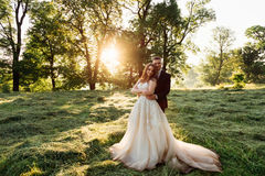 Bride in magnificent dress stands in groom& x27;s hugs on the grass royalty free stock image