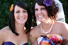 Bride and Maid of Honor. Best friends, bride and her maid of honor at the wedding Stock Image