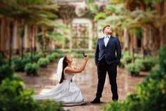 Bride makes an offer in green garden Royalty Free Stock Photos