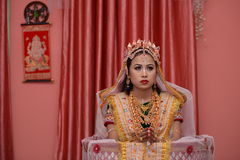 Bride in Manipuri traditional attire Stock Photos