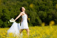 Bride on the meadow Royalty Free Stock Photography
