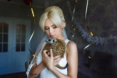 Bride with meerkat Royalty Free Stock Photos