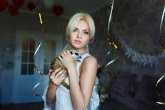 Bride with meerkat Stock Image