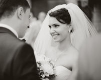 Bride meets groom. On a wedding day, black and white Royalty Free Stock Photography