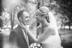 Bride meets groom on a wedding day. Black and white Stock Photo