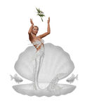 A bride mermaid. A mermaid throw the bridal bouquet - isolated on white Stock Photos